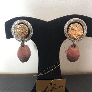 NEW J. Jansen Gold & Pink Stone Clip On Earrings